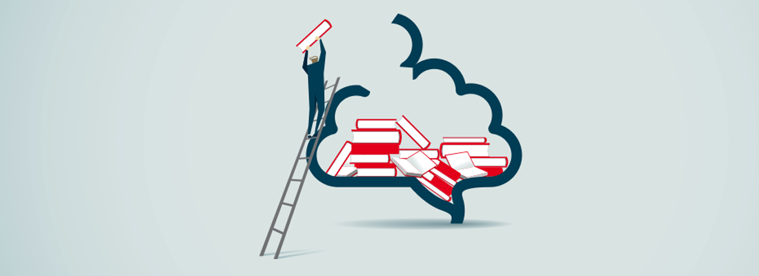 An illustration of a small person piling books into a brain