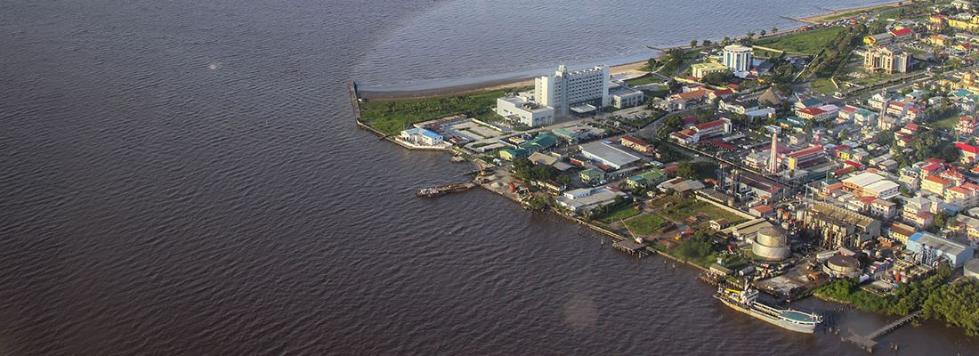 Bird's-eye view of the coast of Guyana